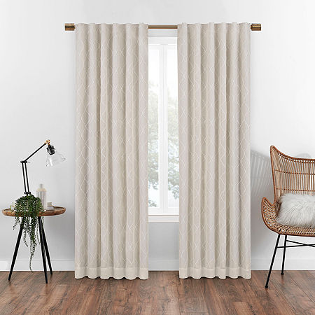 Eclipse Nora Geometric Embroidery Blackout Back-Tab Single Curtain Panel, One Size , Beige