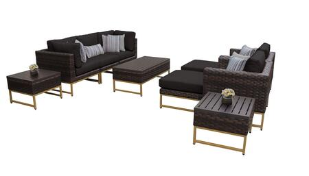 Barcelona BARCELONA-10c-GLD-BLACK 10-Piece Patio Set 10c with 2 Corner Chairs  2 Club Chairs  1 Armless Chair  1 Coffee Table  2 Ottomans and 2 End