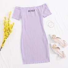Off Shoulder Lettuce Trim Letter Graphic Bodycon Dress