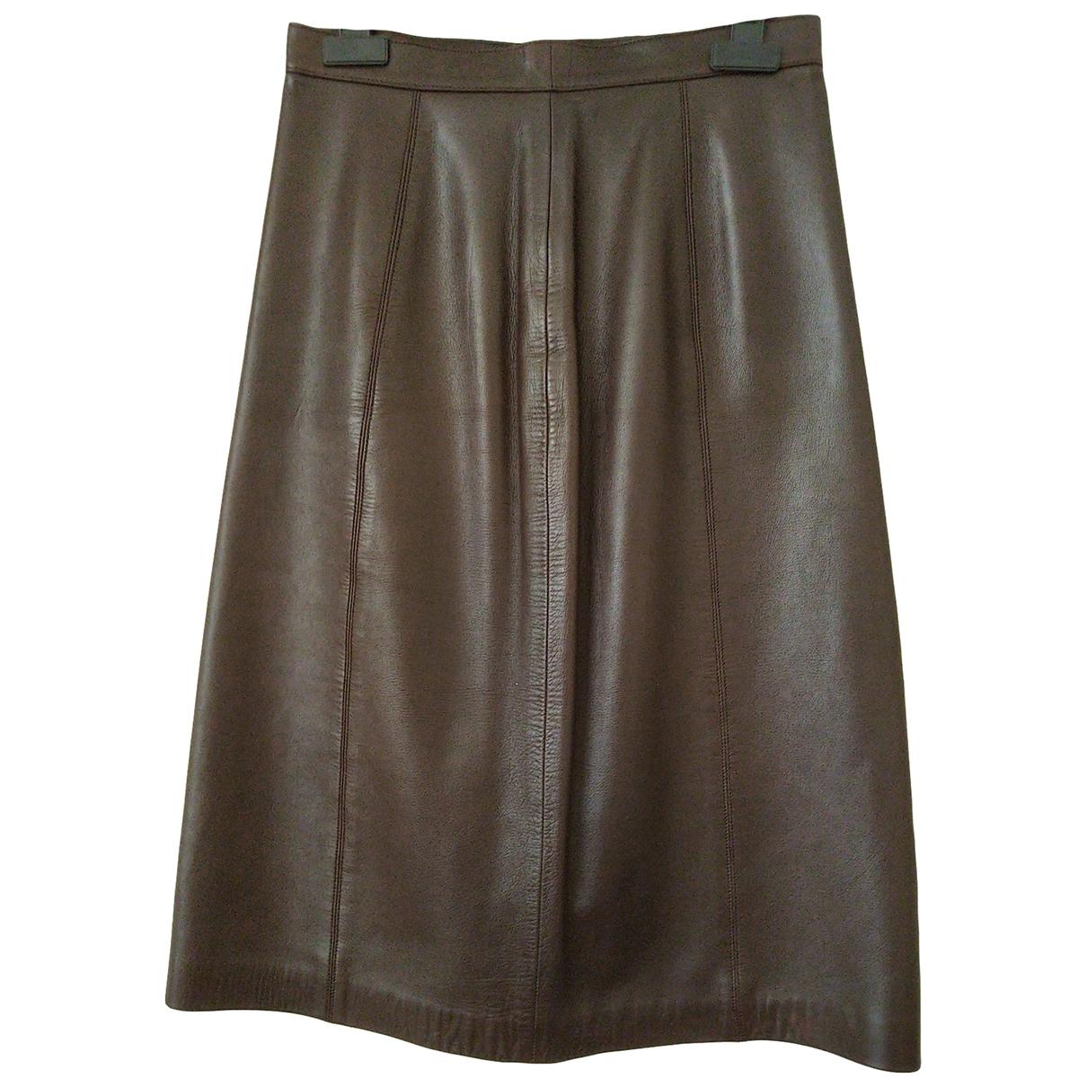 Loewe - Jupe   pour femme en cuir - marron