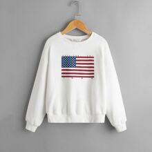Pullover mit amerikanischer Flagge Muster und sehr tief angesetzter Schulterpartie