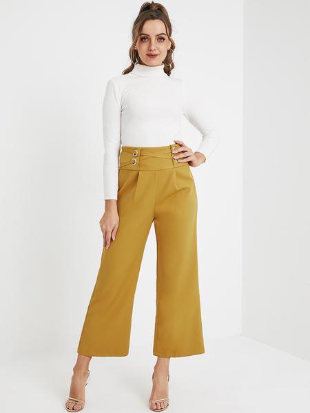 YOINS Yellow Criss-Cross High-Waisted Pants