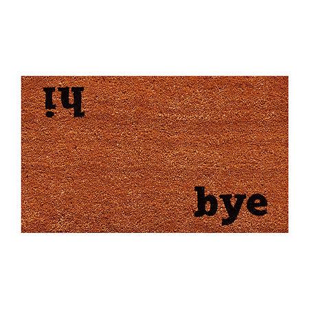 Hi Bye Rectangular Outdoor Doormat, One Size , Black
