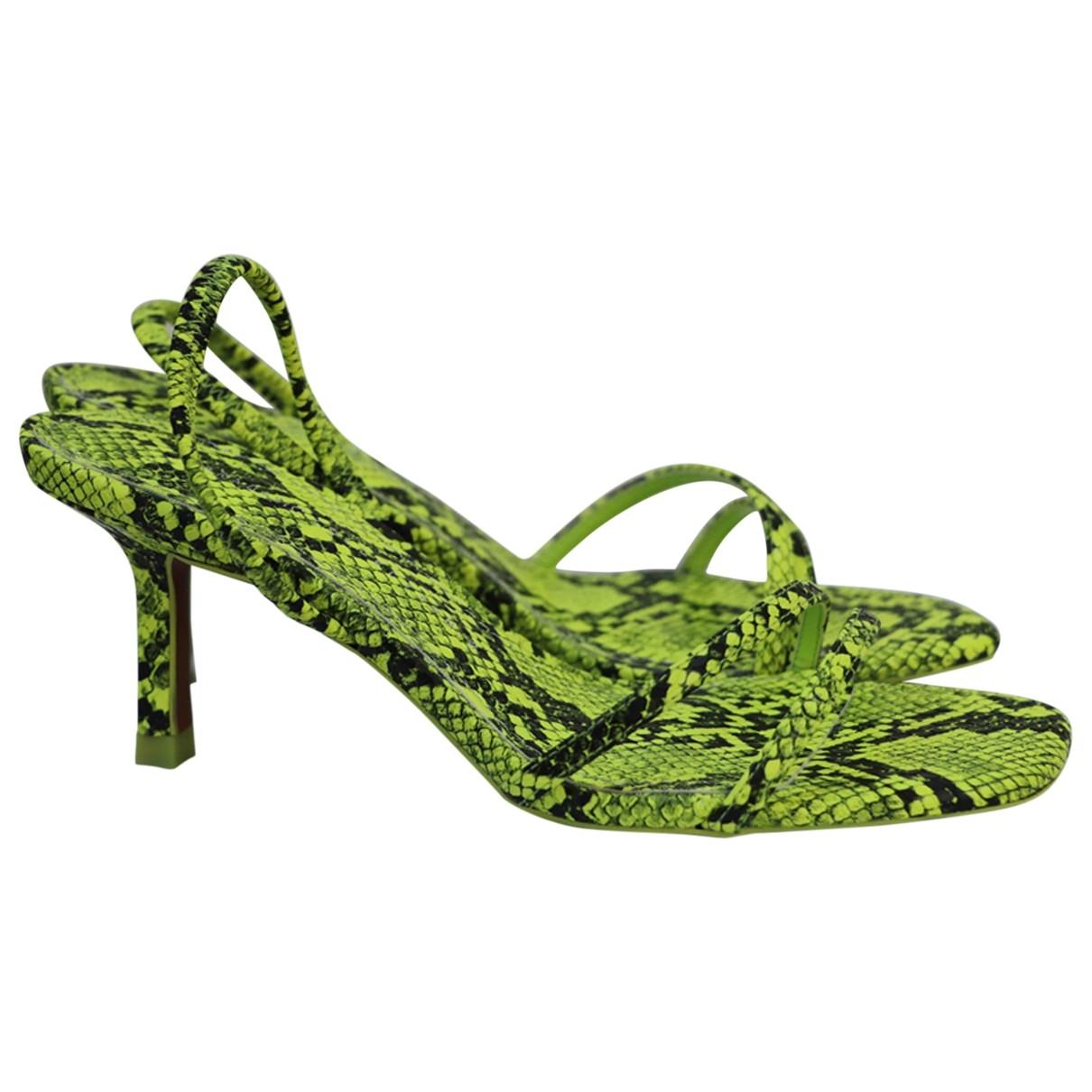 Zara - Sandales   pour femme en cuir - vert