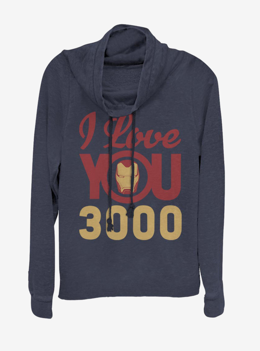 Marvel Iron Man Love You 3000 Icon Face Cowlneck Long-Sleeve Womens Top