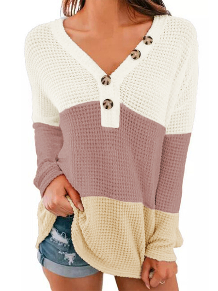 Yoins Color Block Button V-neck Long Sleeves Waffle Knit Top