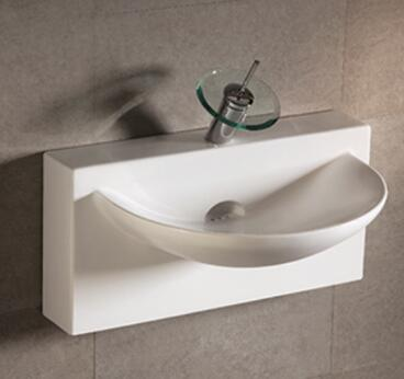 WHKN1114 Isabella rectangular wall mount basin with an integrated u-shaped bowl  single faucet hole and rear center