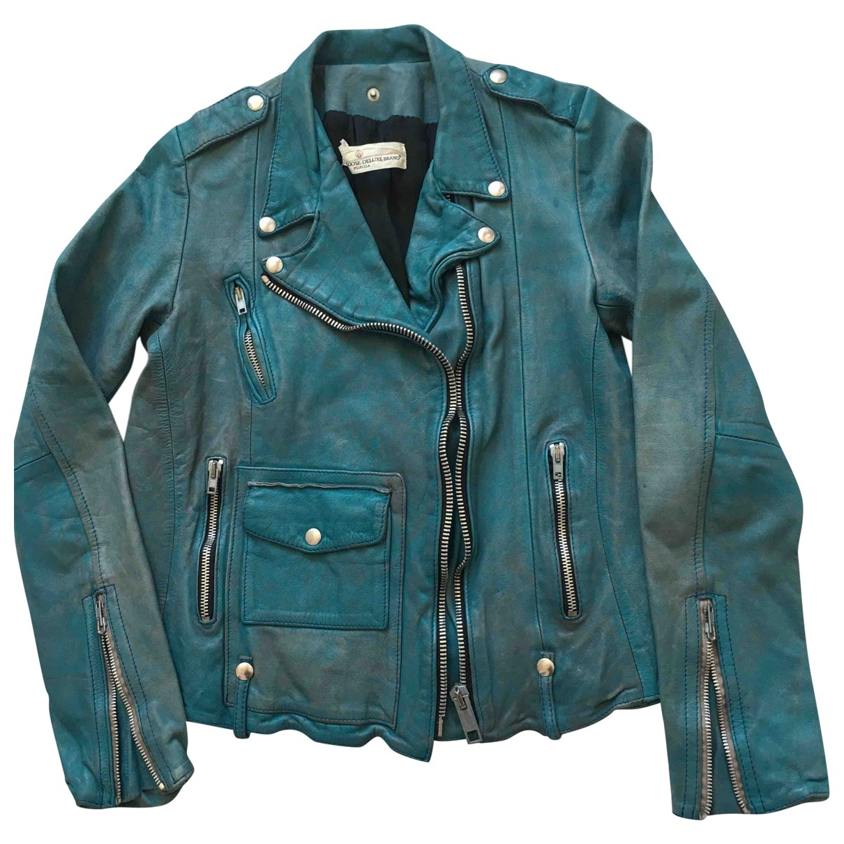 Golden Goose \N Turquoise Leather Leather jacket for Women M International