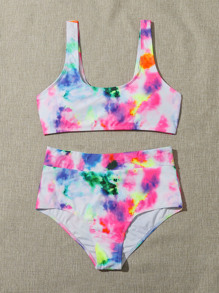 Tie-Dye Wash High-Rise Bikini Swimsuit