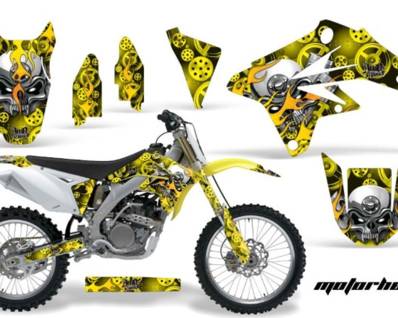 AMR Racing Dirt Bike Graphics Kit Decal Sticker Wrap For Suzuki RMZ250 2007-2009áMOTORHEAD YELLOW