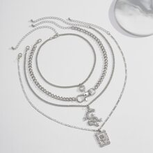 4pcs Chinese Dragon Charm Necklace