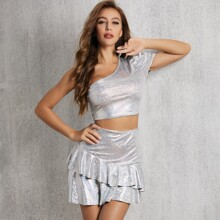 One Shoulder Metallic Top & Ruffle Trim Skirt Set