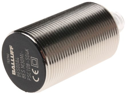 BALLUFF M30 x 1.5 Inductive Sensor - Barrel, PNP-NO Output, 10 mm Detection, IP68, M12 - 4 Pin Terminal
