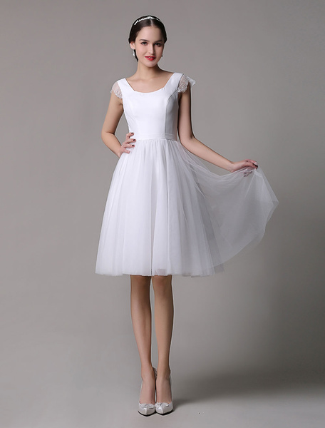 Milanoo Simple Wedding Dresses Tulle Scoop Neck Knee Length Short Bridal Dress With Lace Cap Sleeves