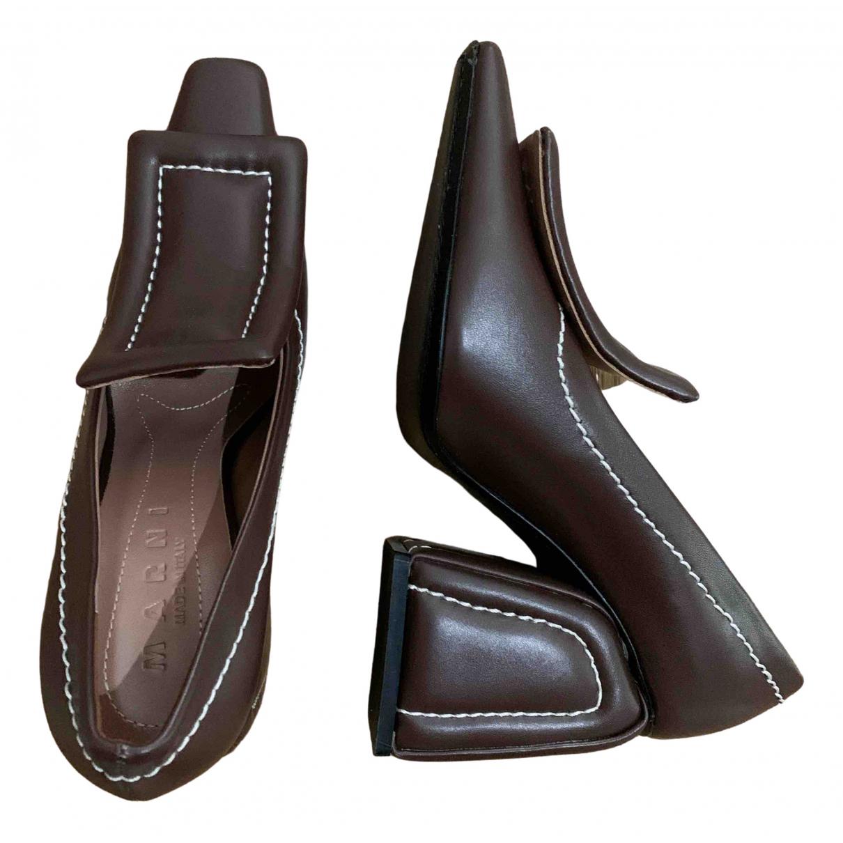 Marni \N Brown Leather Heels for Women 36 EU