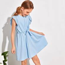 Girls Eyelet Embroidered Armhole Knot Front Solid Dress