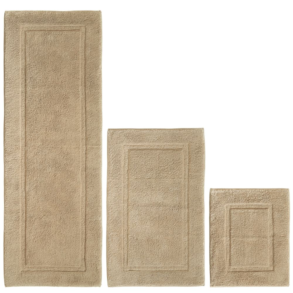 Cotton Spa Bath Mats with Border - Set of in Linen, 17