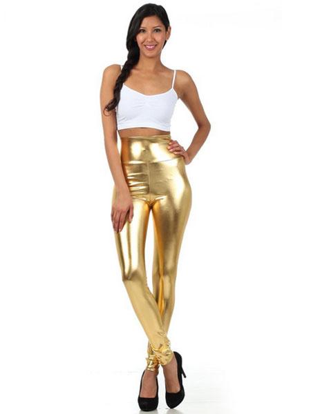 Milanoo Disfraz Halloween Polainas de oro brillante metalico pitillo para las mujeres Halloween