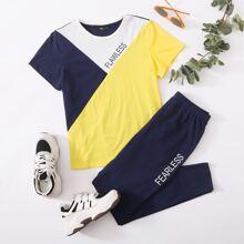 Letter Graphic Colorblock Top & Pants Set