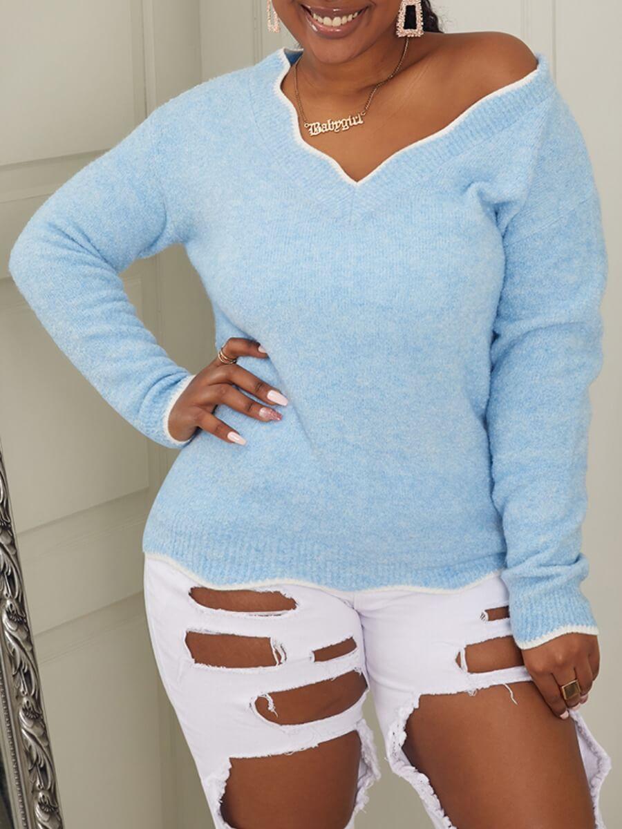 LW Lovely Trendy V Neck Basic Blue Sweater