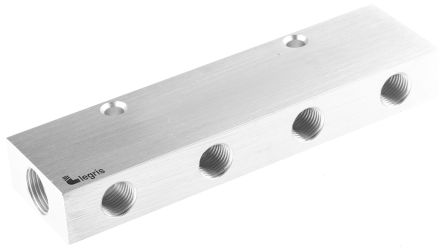 Legris 8 Outlet Pneumatic Manifold Threaded Fitting, G 3/8 G 1/4