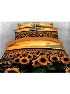 Sunflower and Sunset 3D Soft Bedding Set 4Pcs Duvet Cover with Zipper Closure