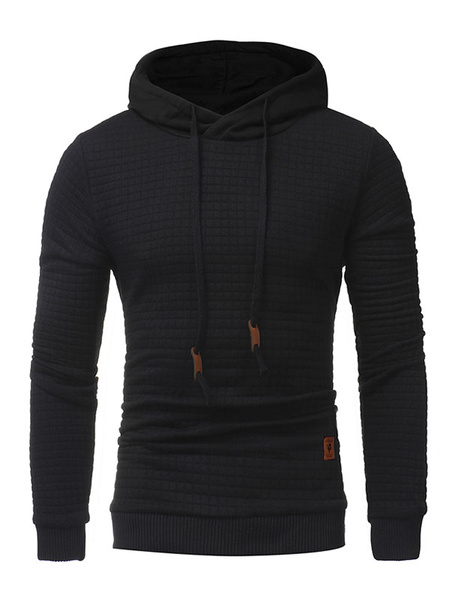 Milanoo Men Pullover Sweater Hooded Drawstring Cuff Long Sleeve Cotton Hoodie For Men