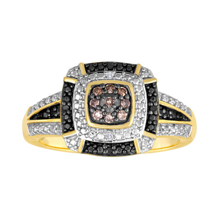 1/10 CT. T.W. White, Champagne and Color-Enhanced Black Diamond Ring, 9 , No Color Family