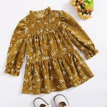 Cord Kleid mit Rueschen am Kragen und Gaensebluemchen Muster