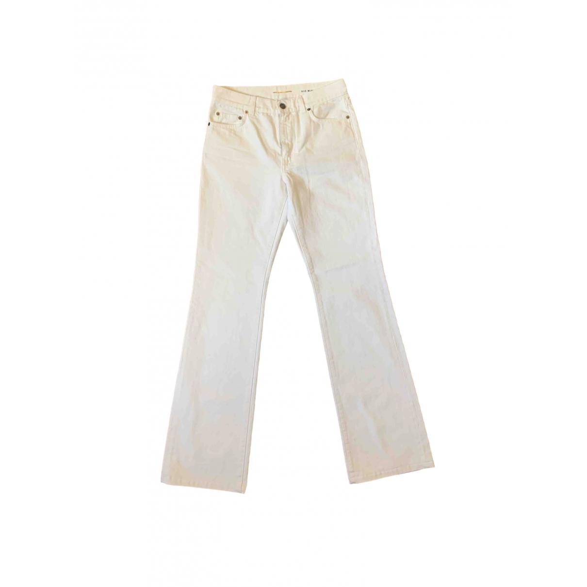 Saint Laurent \N White Cotton Trousers for Women 40 IT