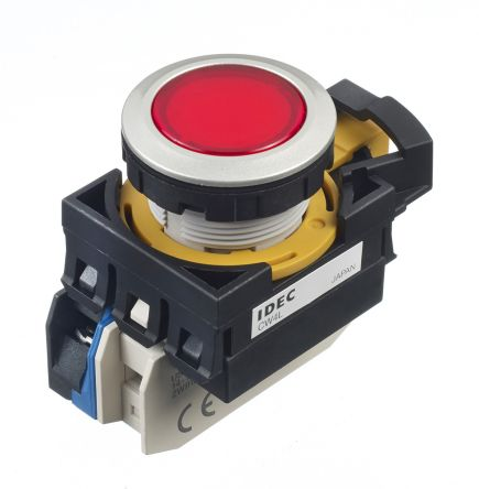 Idec , CW Illuminated Red Flush Push Button, NO, 22mm Maintained Screw