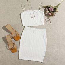 Cable Knit Crop Cami Top & Skirt Set