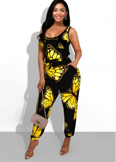 Side Pocket Butterfly Print Black Jumpsuit - M