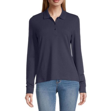 Arizona Juniors Womens Long Sleeve Knit Polo Shirt, Small , Blue