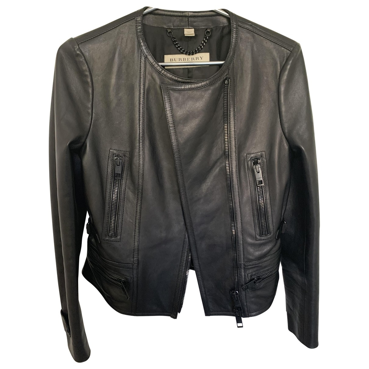 Burberry \N Black Leather Leather jacket for Women 6 UK