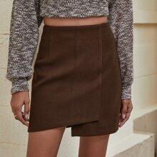 Zip Back Asymmetrical Hem Skirt