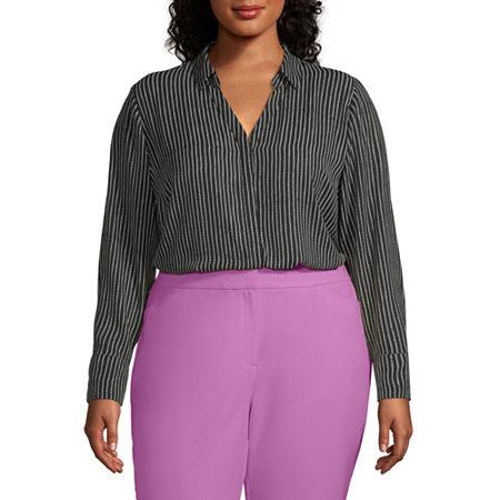 Worthington Womens Soft Blouse - Plus, 4x , Black