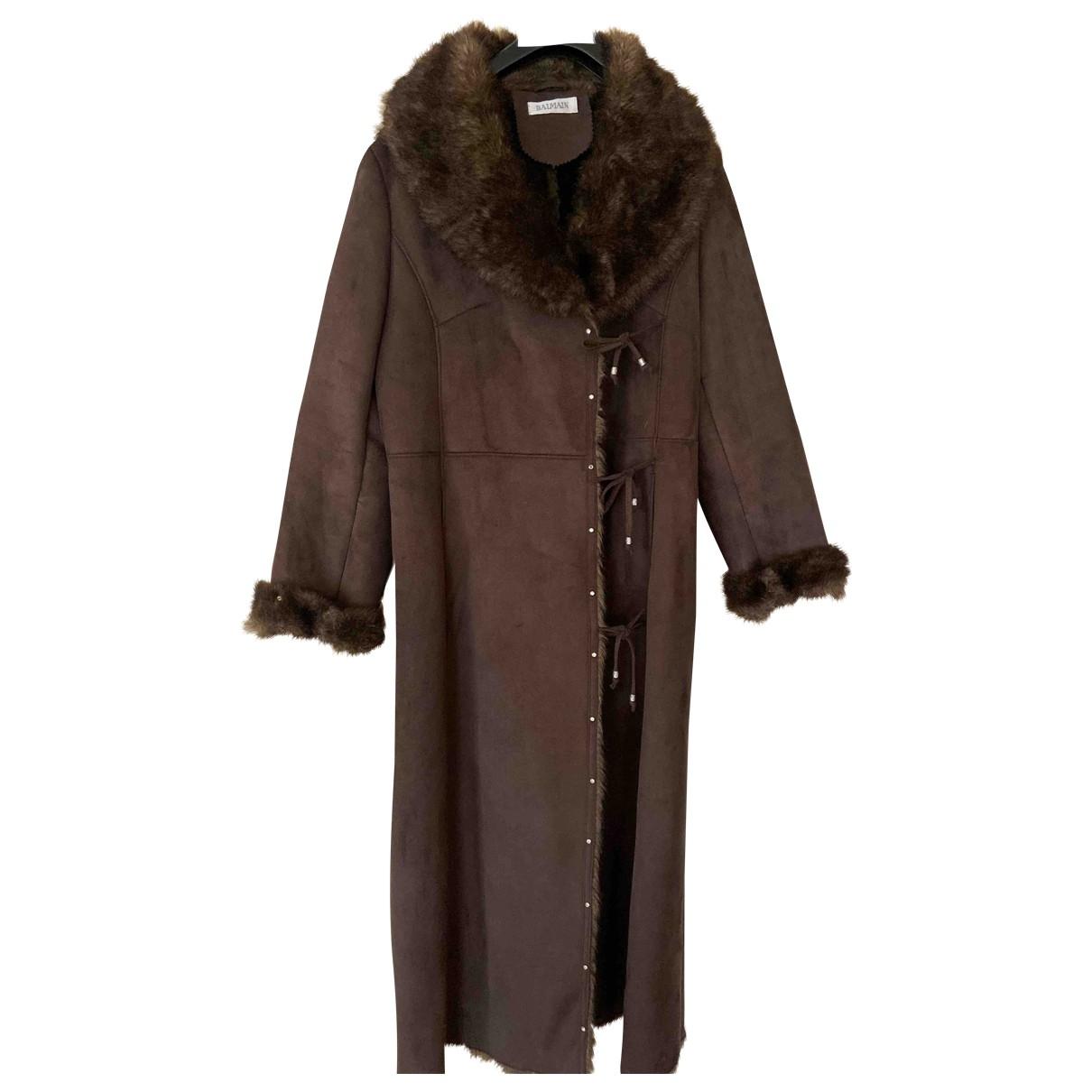 Balmain - Manteau   pour femme en fourrure synthetique - marron