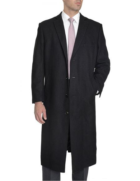 Mens 4 Buttons Full Length Wool Cashmere Blend Black Overcoat Top Coat