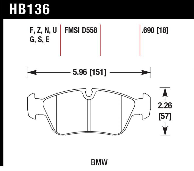 Hawk Performance HB136G.690 Disc Brake Pad BMW Front
