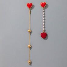 Heart & Faux Pearl Drop Earrings