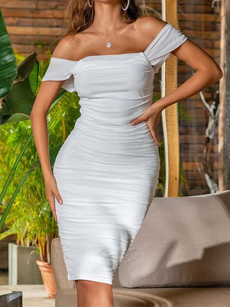 Milanoo Vestidos ajustados fruncidos fuera del hombro Vestido de lapiz sexy