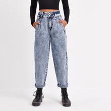 Mom Jeans mit hoher Taille und Falten