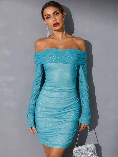 YOINS Mesh Off the shoulder Galaxy Mini Dress