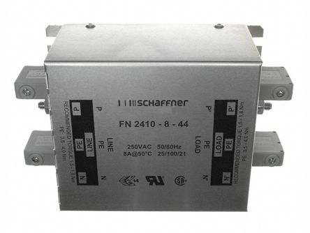 Schaffner , FN2410 8A 250 V ac 400Hz, Chassis Mount RFI Filter, Screw, Single Phase