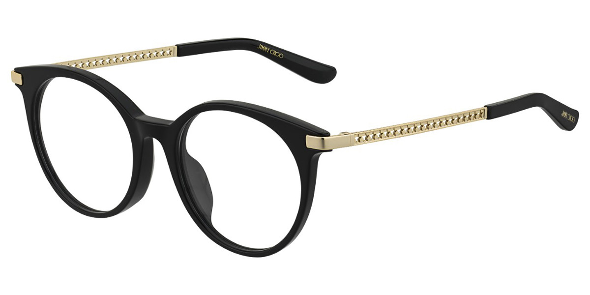 Jimmy Choo Jc224/F Asian fit 807 Women's Glasses Black Size 50 - Free Lenses - HSA/FSA Insurance - Blue Light Block Available