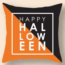 Halloween Slogan Graphic Cushion Cover Without Filler