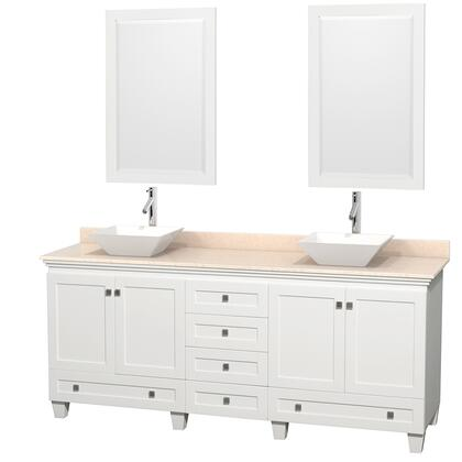 Acclaim WCV800080DWHIVD2WM24 80 Double Bathroom Vanity with 4 Doors  6 Drawers  2 Mirrors  Brushed Chrome Hardware  Ivory Marble Top and Pyra White