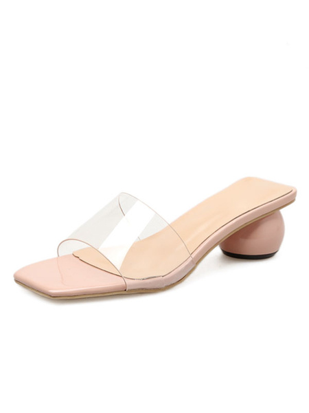 Milanoo Womens Transparente Clear Slides Perspex Heels Block Heel Slippers