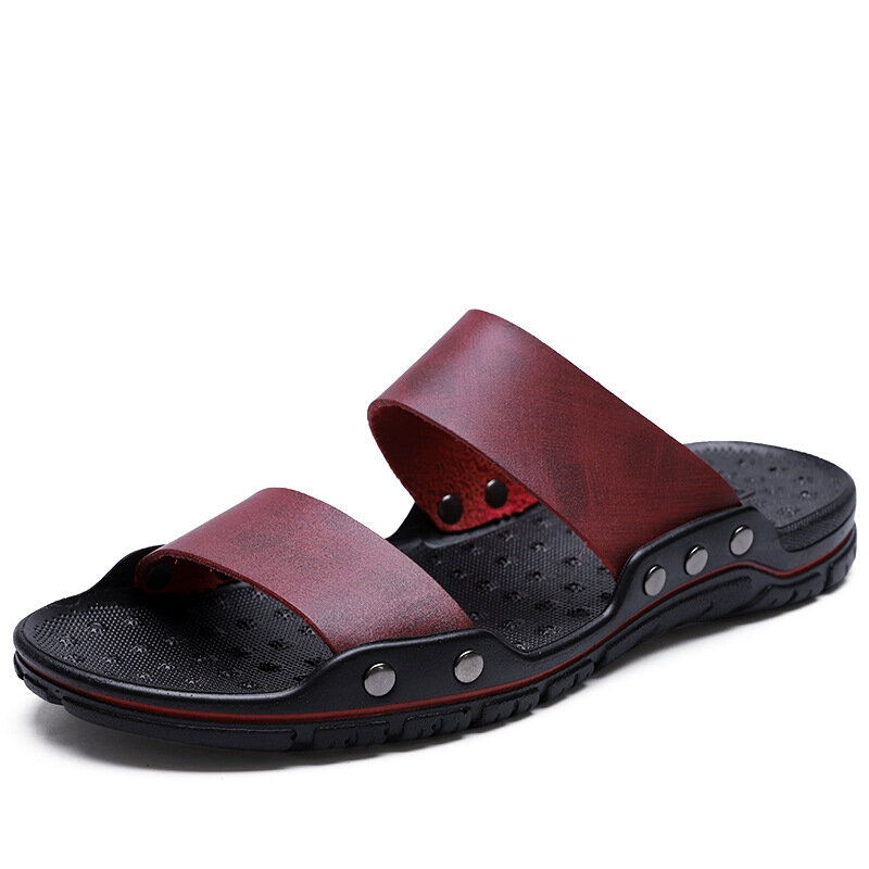 Men Pure Color Comfy Synthetic Leather Beach Casual Slippers